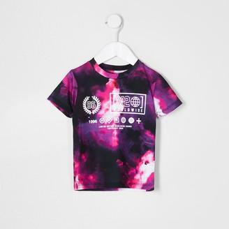 River Island Mini boys Purple tie die print t-shirt