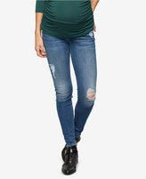7 For All Mankind Maternity Ripped Hyde Park Wash Skinny Jeans