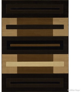 """Ebern Designs Busick Modern and Contemporary Color Block Bordered Designed Brown Area Rug Rug Size: 5'2"""" x 7'2"""""""