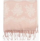 Dorothy Perkins Womens Pink Lace Border Blanket Scarf- Pink
