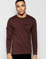 Asos Cotton Sweater with Chest and Arm Zip Pocket