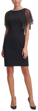 Jessica Howard Embellished-Sleeve Scuba-Crepe Sheath Dress