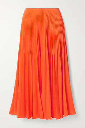 Jason Wu Collection Pleated Crepe Midi Skirt - Bright orange