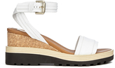 See by Chloe Women's Leather Wedged Sandals White