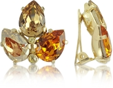 A-Z Collection Amber Crystal Clip-On Earrings