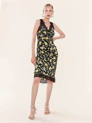 Diane von Furstenberg Issey Lace Trim Silk Slip Dress
