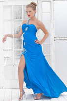 Blush Lingerie One Shoulder Beaded Long Dress with Slit 9323