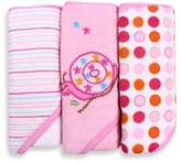 SpaSilk Baby Stripe/Snail Applique/Dots 3-Count Terry Hooded Towel in Pink