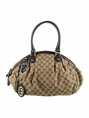 Gucci GG Canvas Sukey Medium Boston Bag Tan