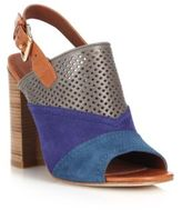 Cole Haan Tabby Perforated Leather & Suede Slingback Sandals
