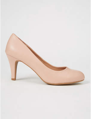George Pale Pink Round Toe Court Shoes