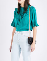 Sandro Ruffled-trim woven top