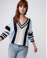 Express mix stitch striped v-neck sweater