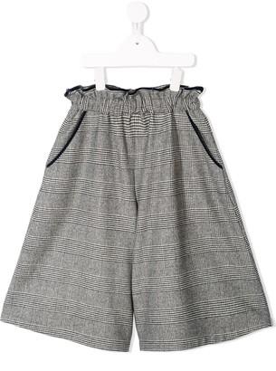 Familiar Plaid Flared Shorts