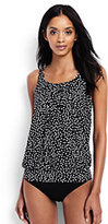 Classic Women's Long Mastectomy Blouson Tankini Top-Black Scatter Dots