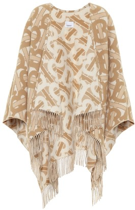 Burberry TB wool-blend jacquard shawl