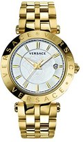Versace Men's VQP050015 V-Race 42 mm 3 Hands Analog Display Swiss Quartz Gold Watch