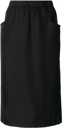 Black Comme Des Garçons Side-Pocket Midi Skirt