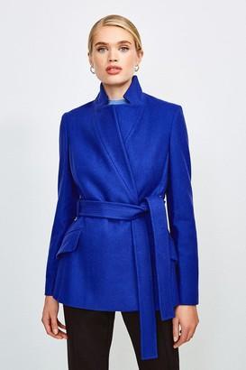 Karen Millen Italian Wool Blend Notch Short Coat