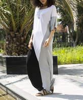 Angele Mode Women's Maxi Dresses White - White & Black Color Block Maxi T-Shirt Dress - Women