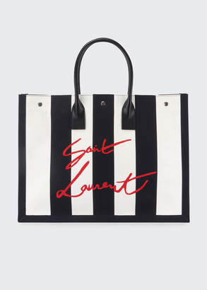 Saint Laurent Cabas Striped Tote Bag