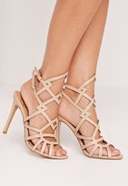Missguided Laser Cut Strappy Heeled Sandal Nude
