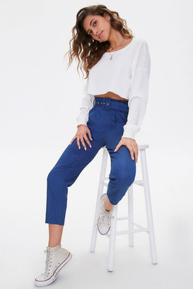 Forever 21 Cropped Belted Paperbag Jeans