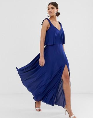 Asos DESIGN tie shoulder pleated crop top maxi dress