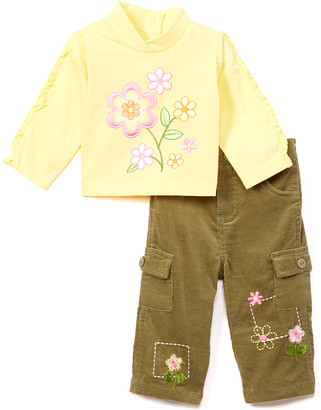Children's Apparel Network Girls' Casual Pants OLIVE - Yellow Floral Top & Olive Corduroy Pants - Infant