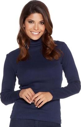 elegance1234 New Women's Stretchy ROLL-Neck Long-Sleeve Cotton Plain Tops (Medium - UK 12 (40)