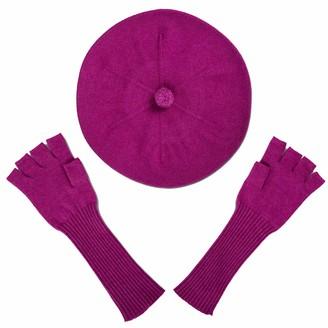 Asneh Purple Silk Cashmere Beret & Fingerless Gloves Set