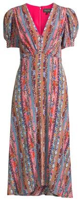 Saloni Lea Puff-Sleeve Silk Dress