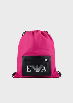 Emporio Armani Pouch-Style Backpack In Tech Fabric With Logoed Pocket