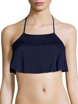 Milly Solid Halter Ruffled Bikini Top