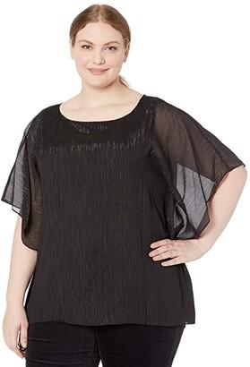 MICHAEL Michael Kors Size Tonal Shimmer Flutter Top (Black) Women's Clothing