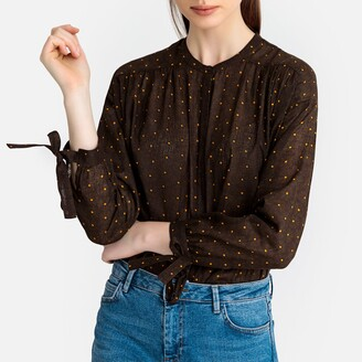 La Redoute Collections Polka Dot Print Boho Blouse with Tied Sleeves