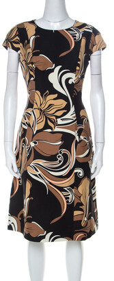Escada Black and Brown Floral Printed Silk and Wool Blend A Line Dress M
