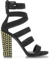 Giuseppe Zanotti Black Suede Sandal w/Studded Heel