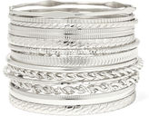 Liz Claiborne Silver-Tone Textured Bangle Set