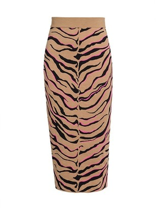 Stella McCartney Compact Stretch-Wool Tiger Knit Skirt