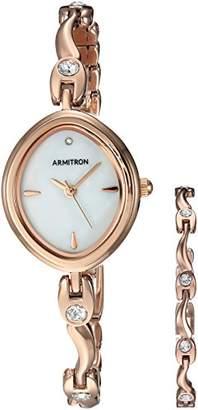 Armitron Sport Armitron Women's 75/5543MPRGST Swarovski Crystal Accented -Tone Watch and Bracelet Set