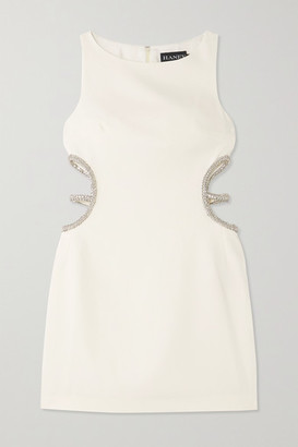 HANEY Roselyn Cutout Crystal-embellished Cady Mini Dress - White