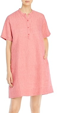 Eileen Fisher Petites Organic Linen Mandarin Collar Dress
