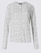 Marks and Spencer PETITE Spotted Long Sleeve Shirt