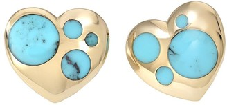 Retrouvaí 18kt Yellow Gold Turquoise Inlay Polka Dot Heart Earrings