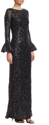 Sequined Bell-Sleeve Gown