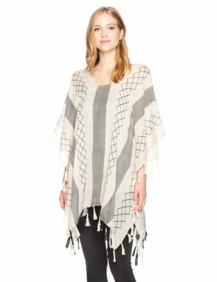 Angie Women's Printed Poncho Top with 2 Tone Tassel Fringe