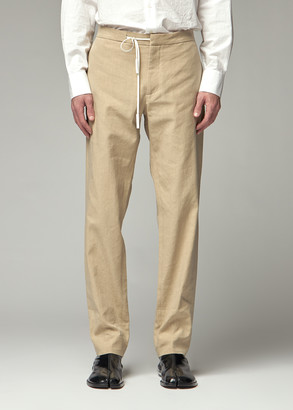 Maison Margiela Men's Tie Waist Pant in Wheat Straw Size 46 Linen/Cotton