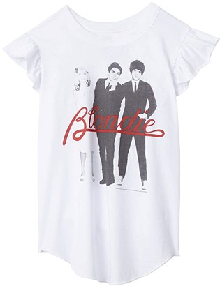 Chaser Super Soft Vintage Jersey Flutter Sleeve Shirttail Tee (Little Kids/Big Kids) (White) Girl's Clothing