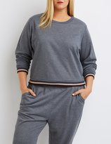 Charlotte Russe Plus Size Varsity Striped Cropped Sweatshirt